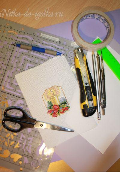 Изготовление вышитой открытки