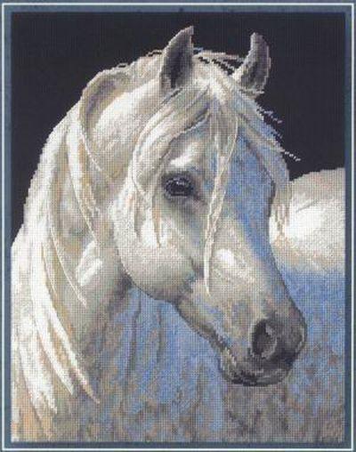 """Схема вышивки  """"Белая лошадь """": схема."""