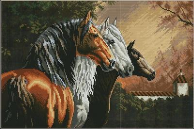 Три лошади разной масти Dimensions
