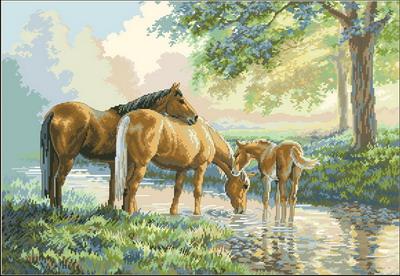 Лошади на водопое  Dimensions