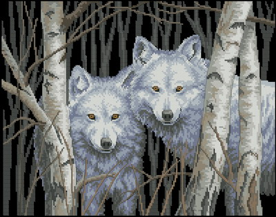 Два белых волка Dimensions