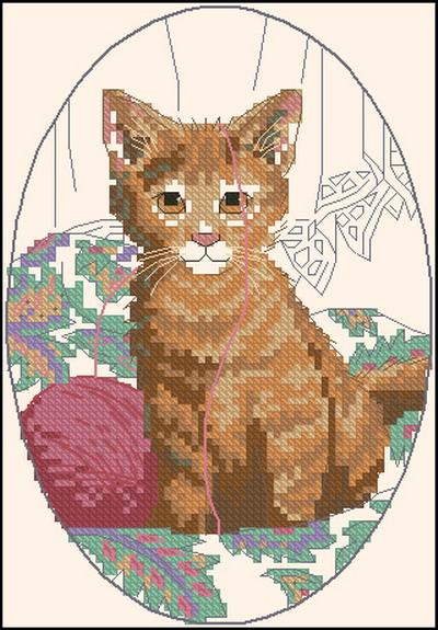 Котенок с клубком Dimensions