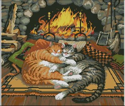 Две кошки спят у огня (Gold