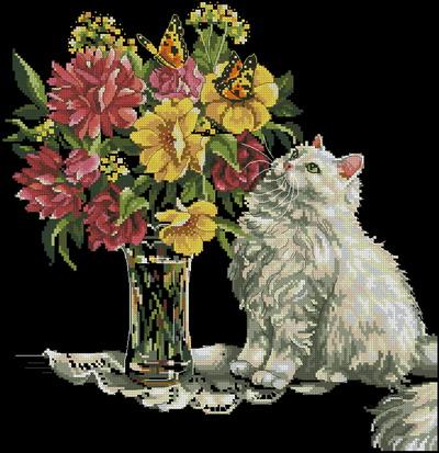 Котенок и ваза с цветами Dimensions