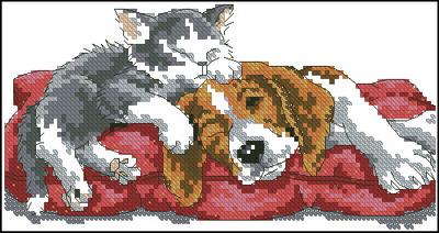 Спящие котенок и щенок Dimensions