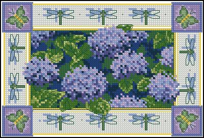 """Схема вышивки  """"Гортензия и стрекозы """": таблица цветов."""
