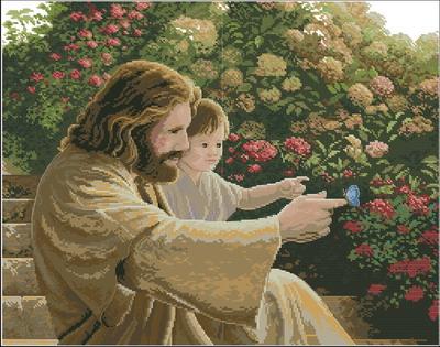 Господь Бог ребенком в саду Dimensions