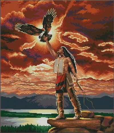Индеец с птицей Dimensions