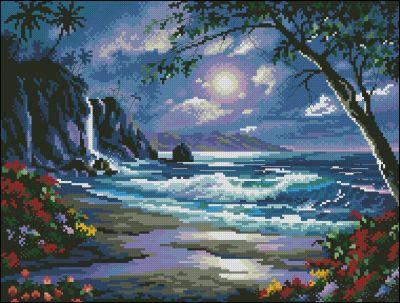 Пейзаж Лунная дорожка на море Dimensions