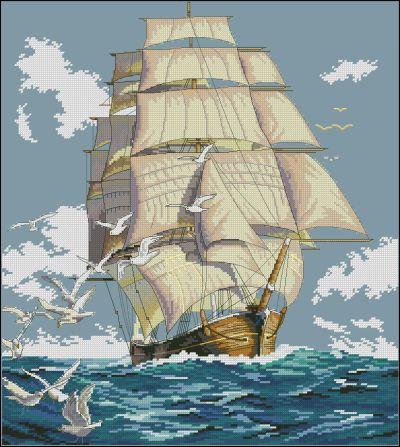 Пейзаж Парусник на море Dimensions