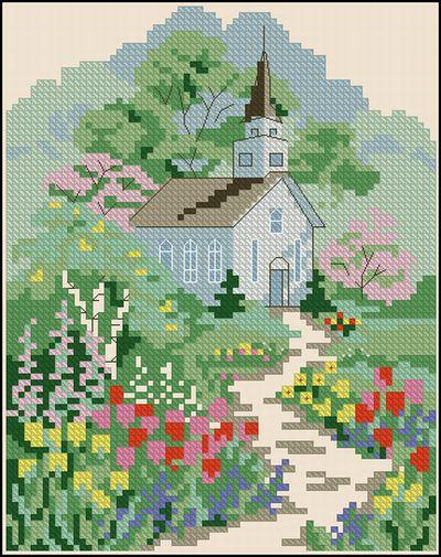 Пейзаж Сад у церкви Dimensions