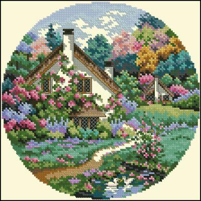 Пейзаж домик в саду Dimensions