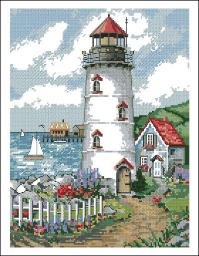 вышивка крестом схемы маяка