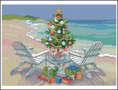 Пейзаж Рождество на пляже