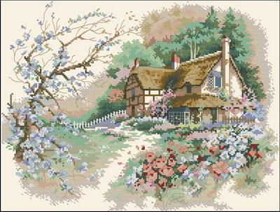Пейзаж Коттедж весной Dimensions