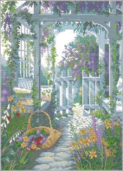 Пейзаж калитка в саду Dimensions