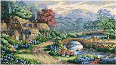 Пейзаж Английская деревенька Dimensions