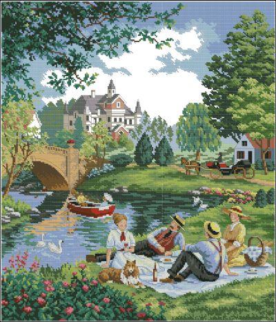 Пейзаж пикник у озера