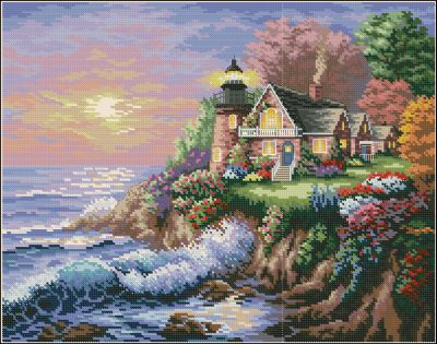 Пейзаж маяк на берегу Dimensions