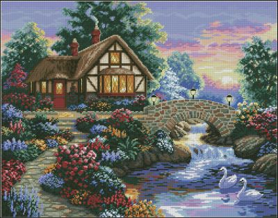 Пейзаж сельский домик Dimensions