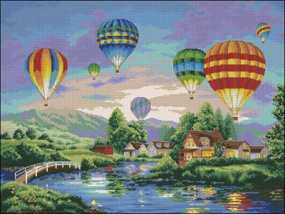 Пейзаж Воздушные шары над озером Dimensions