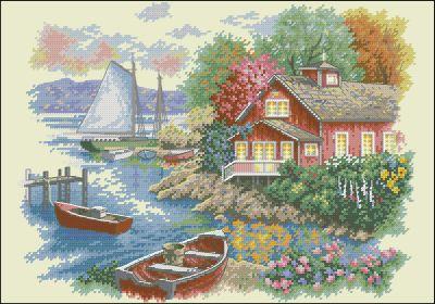 Пейзаж Дом у озера Dimensions