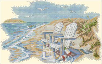 Пейзаж Шезлонг на берегу моря Dimensions