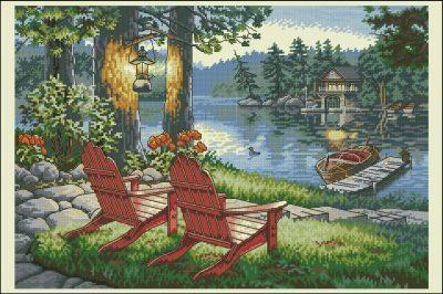Пейзаж Шезлонг на берегу озера Dimensions