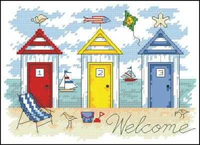 Пейзаж пляжные домики Dimensions
