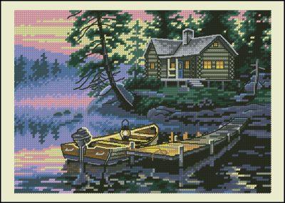 Пейзаж лодки на озере Dimensions