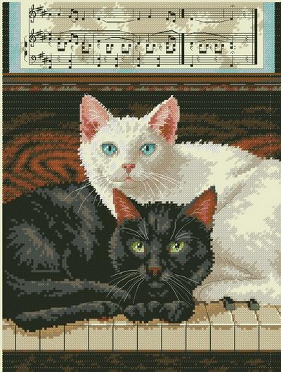 Две кошки на пианино Dimensions