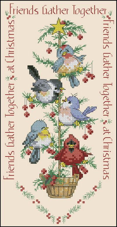Птицы на новогодней елке Dimensions