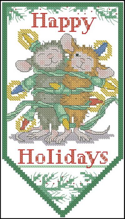 мышки в новогодней гирлянде Dimensions