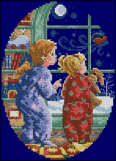 Мальчик и девочка в рождество Dimensions