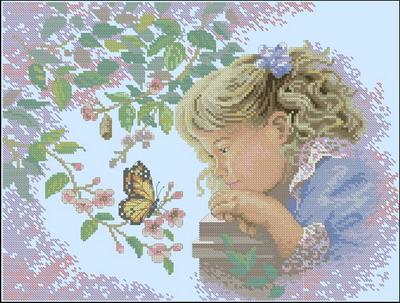 Девочка с бабочкой Dimensions