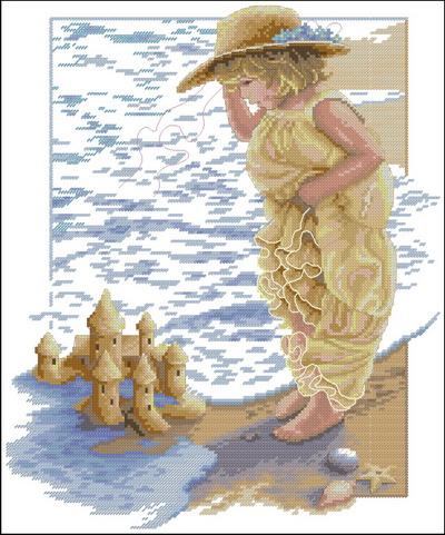 Девочка на пляже Dimensions