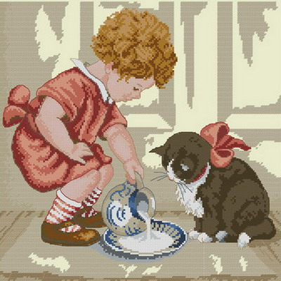 Девочка и котенок Dimensions