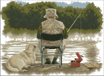 Мужчина и собака на рыбалке Dimensions