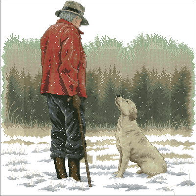 Мужчина и собака Dimensions