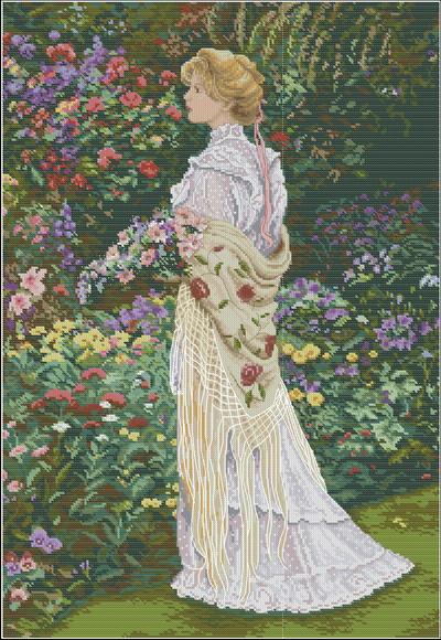 Девушка в саду Dimensions