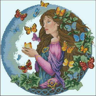 Девушка с бабочками Dimensions