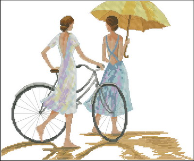 Девушки на велосипедах Dimensions