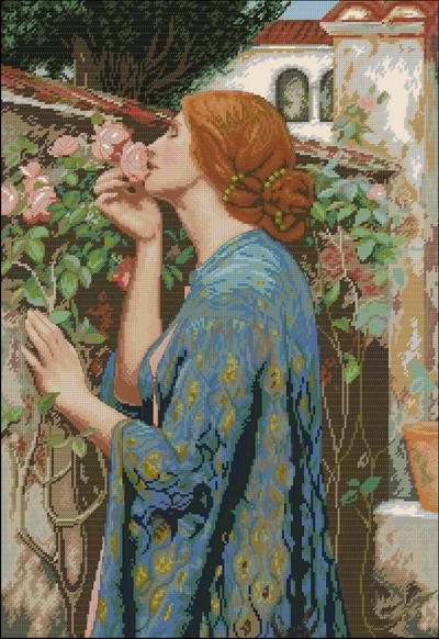 Женщина нюхает розы Dimensions