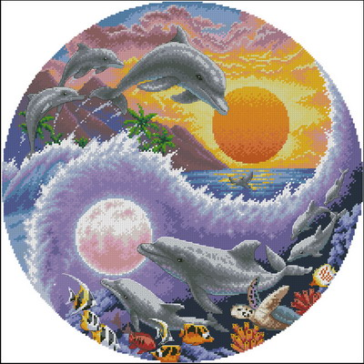 Sun and moon dolphins-Gold