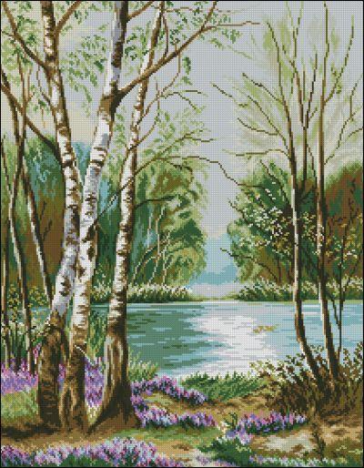Goblenset Озеро с березами