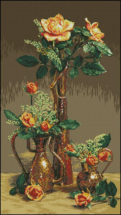 Goblenset Розы в восточных сосудах