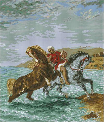 Goblenset Марокканец, выводящий из моря лошадей