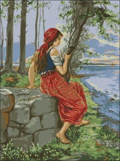 Goblenset Девушка с мандолиной