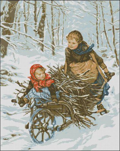 Goblenset Дети везущие хворост