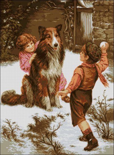 Goblenset Дети с собакой